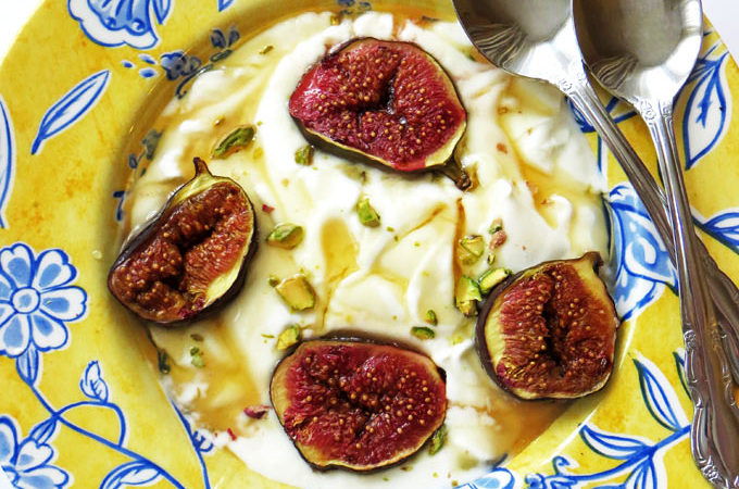 Greek Yoghurt with Roast Figs, Honey and Pistachios