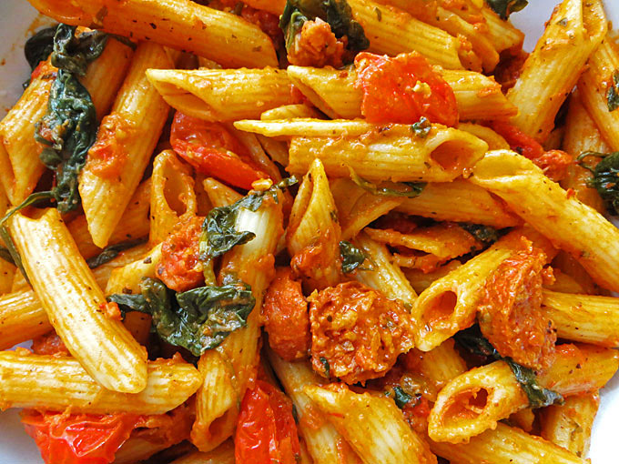 Spinach and Chorizo Red Pesto Penne