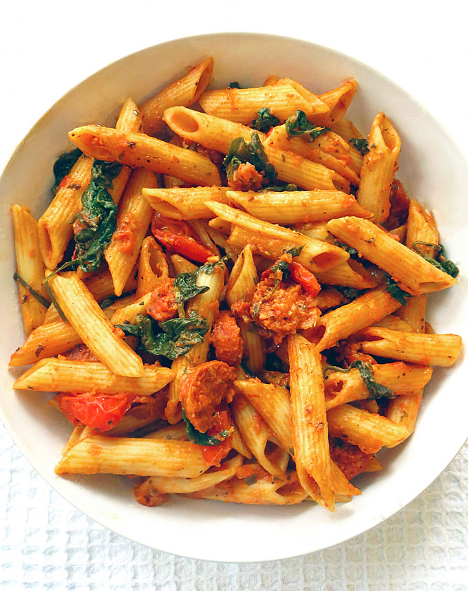 Spinach, and Chorizo Red Pesto Penne