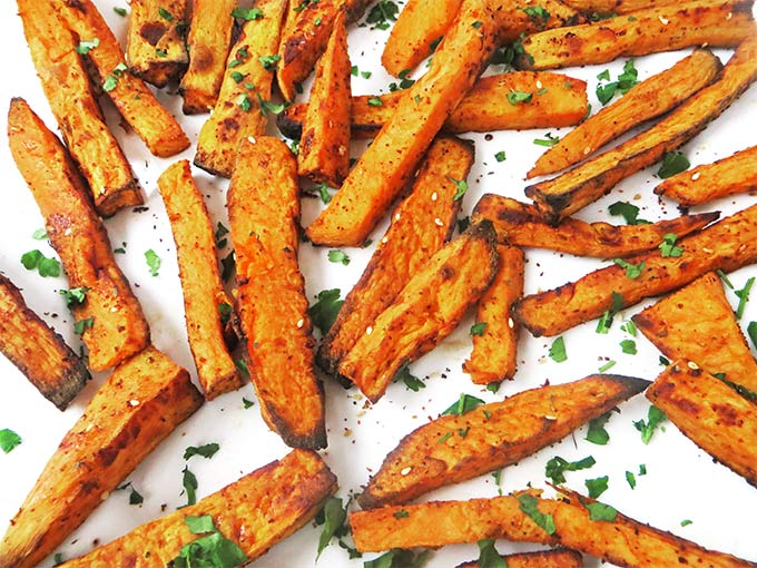 This Recipe Couldn T Be Simpler Just Peel Your Sweet Potatoes And Toss Them In A Big Bowl With The Olive Oil Za Atar Garlic And Paprika